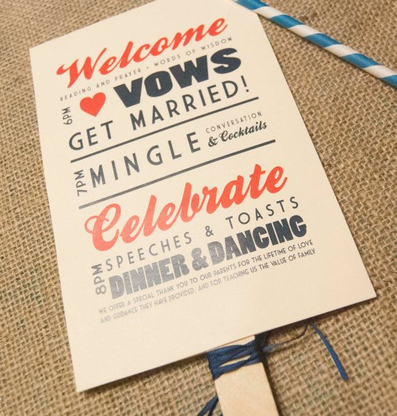 2 Brilliant Outdoor Wedding Ideas - Consider printing your wedding program on a fan so that guests may cool themselves!