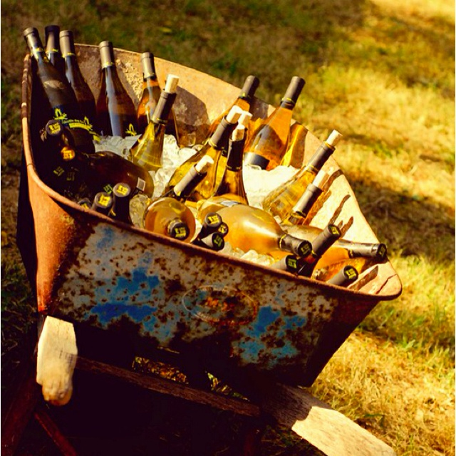 3 Brilliant Outdoor Wedding Ideas - Sunny and hot? Don't leave your guests uncomfortably melting – have your ushers give guests ice-cold bottles of water as they are seated. A wheelbarrow works as a great icechest!