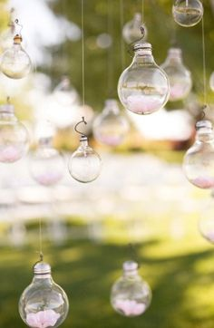 6 Utterly Brilliant Outdoor Wedding Ideas - Brilliant Outdoor Wedding Ceremony Decor - lightbulbs catch the sunlight beautifully. Tailored Fit Films - Kelowna Wedding Video