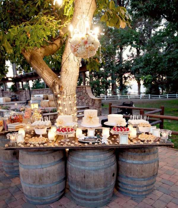 9 Utterly Brilliant Outdoor Wedding - Brilliant use of outdoor friendly barrels to create this unique outdoor wedding desert table. Tailored Fit Films - Kelowna Wedding Video