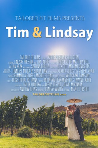Bonitas Winery Wedding in Summerland overlooking the vineyards and Okanagan Lake. Wedding Poster Photo for their Kelowna Wedding Film