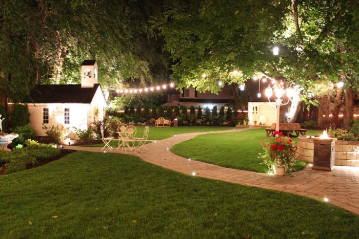 Outdoor Wedding Set up in the backyard of Lindon House at night time