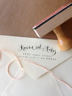 1 Handwritten Calligraphy Address Stamp -- Mixed Calligraphy and type - Elle Style from AngeliqueInk