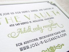 2 Adult only wedding reception invite