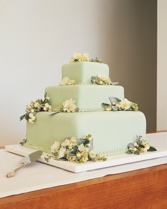 5 green wedding cake square 4 tiers martha stewart weddings photo