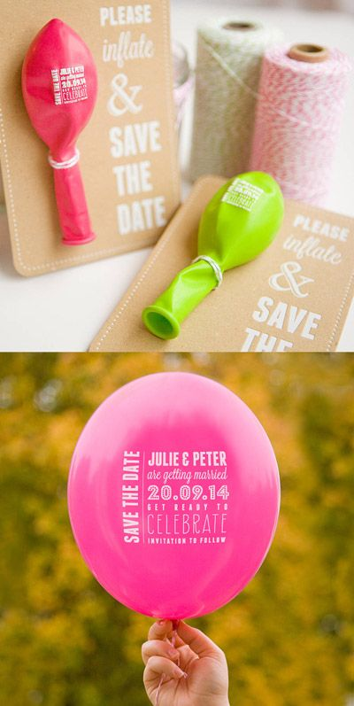 Alternative Wedding Invitations and Save the Dates- inflatable printed balloon