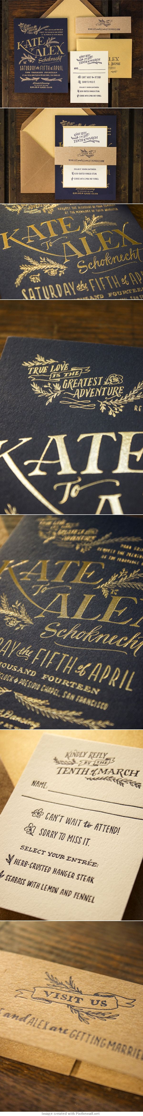 Elegant Rustic Hand Lettered Gold Foil Letterpress Wedding Invitations by Ladyfingers Letterpress via Oh So Beautiful Paper