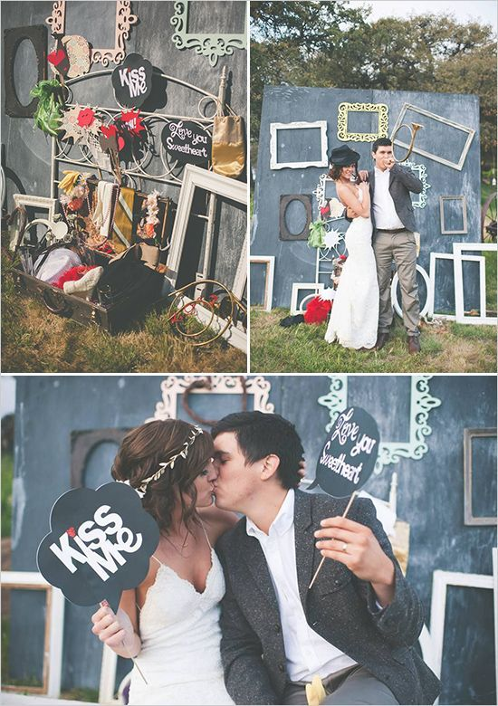 Simply genius chalkboard paint wedding ideas photobooth with old antique frames