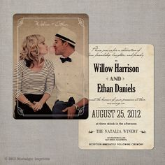 Vintage Wedding Invitation. We love the design! Print your Wedding stationery with CardsMadeEasy