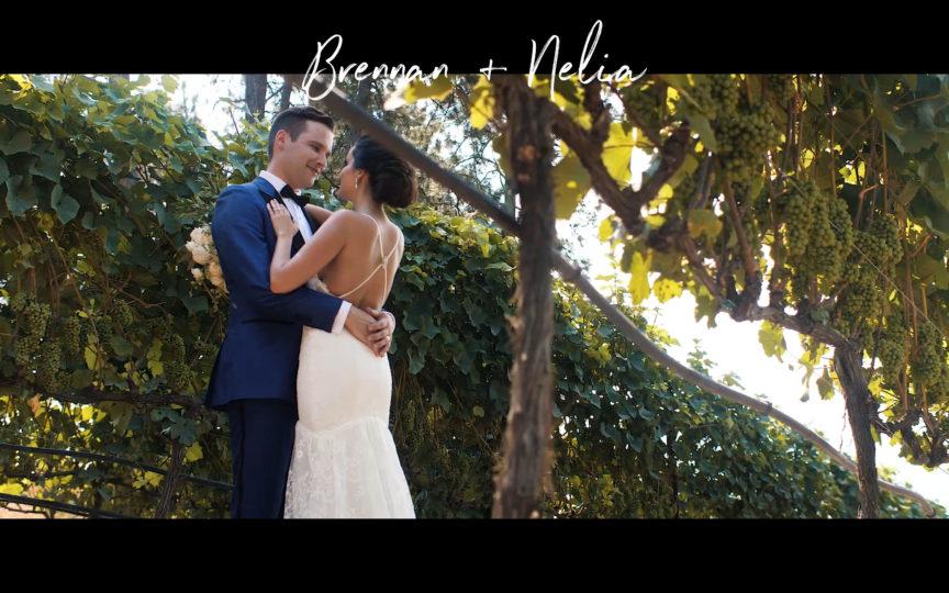 photo of bride and groom in kelowna vineyard together